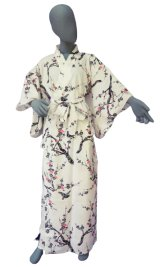 Ladies' Japanese Yukata -ume- White, Cotton, Large / Pink plum & bush warbler