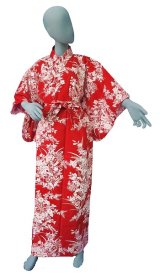 Ladies' Japanese Yukata -yuri- Red, Cotton, Xlarge / Lilies