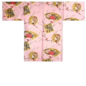 Photo1: Ladies' Japanese Short Happi -kintsuru- Pink, Cotton, 35in / Beautiful crane