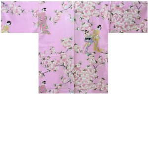Photo1: Ladies' Japanese Short Happi -sakura tachisugata- Pink, Cotton, 35in / -sakura- and Japanese beauty