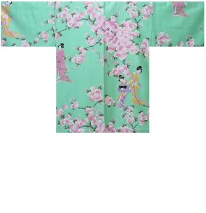 Photo1: Ladies' Japanese Short Happi -sakura tachisugata- Green, Cotton, 35in / -sakura- and Japanese beauty