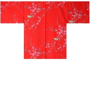 Photo1: Ladies' Japanese Short Happi -ume uguisu- Red, Cotton, 35in / Plum & bush warbler