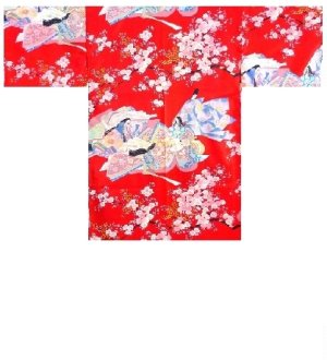 Photo1: Ladies' Japanese Short Robe -sakura ocho- Red, Polyester, 35in / Dynasty in cherry blossoms