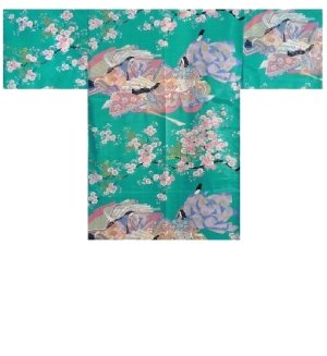 Photo1: Ladies' Japanese Short Happi -sakura ocho- Tq blue, Polyester, 35in / Dynasty in cherry blossoms