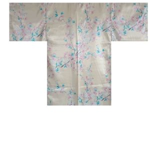 Photo1: Ladies' Japanese Short Happi -shin sakura- White, Polyester, 35in / Full of cherry blossoms