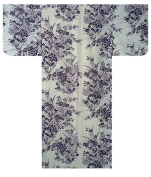 Photo1: Ladies' Japanese Yukata -yuri- White, Cotton, Medium / Lilies