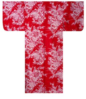 Photo2: Ladies' Japanese Yukata -yuri- Red, Cotton, Small / Lilies