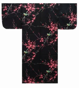 Photo1: Small / Ladies' Japanese Kimono Robe -ume uguisu- Black, Cotton - SPECIAL DISCOUNT