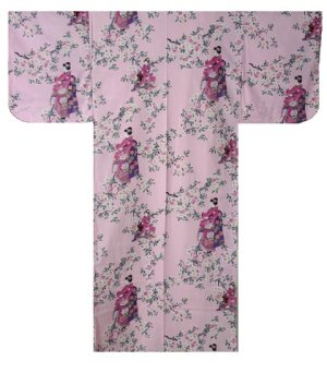 "Photo1: For Ladies' SPECIAL DISCOUNT Japanese Cotton Kimono Robe - ""SAKURA MAIKO"" Length 54 in"