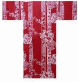 Girls' 25inch / Japanese Yukata -marubana- Red, Cotton - SPECIAL DISCOUNT