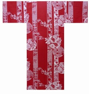 Photo1: Girls' 25inch / Japanese Yukata -marubana- Red, Cotton - SPECIAL DISCOUNT