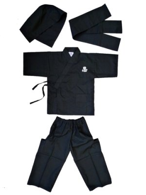 Photo2: Kid's Xlarge / Japanese Jinbei -ninja suit- Black, Cotton - SPECIAL DISCOUNT