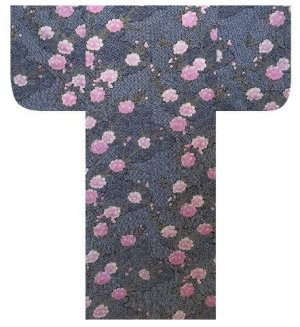 Photo2: Ladies' Japanese Yukata -sakura komon- Black, Cotton, Medium / -sakura- on Cloud pattern