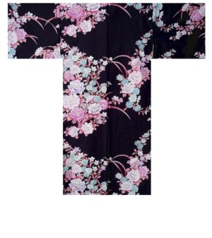Photo1: One size fits all / Ladies' Japanese Happi Coat -botangiku- Black, Cotton, 42in - SPECIAL DISCOUNT