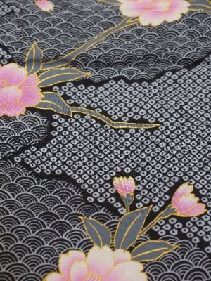 Photo4: Ladies' Japanese Yukata -sakura komon- Black, Cotton, Medium / -sakura- on Cloud pattern