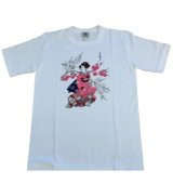 Large T shirt -maiko- White, Cotton / -geisha- girls