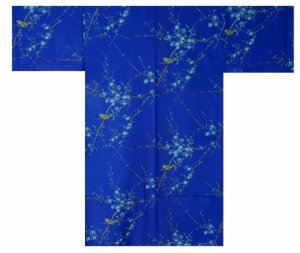 Photo1: Wide style / Japanese Yukata -ume uguisu- Blue, Cotton, Medium / Plum & bush warbler