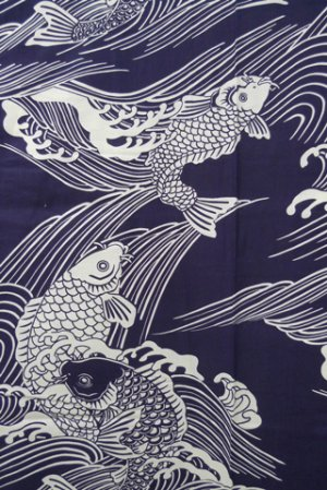 Photo2: Men's Japanese Yukata -koi- Navy, Cotton, 2Xlarge / Carp in wave