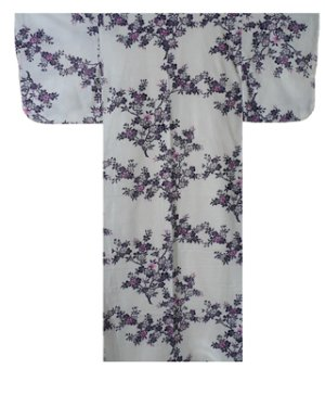Photo1: Ladies' Japanese Yukata -sakura- White, Cotton, Small / Japanese cherry blossoms