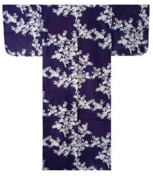 Photo2: Ladies' Japanese Yukata -sakura- Navy, Cotton, Small / Japanese cherry blossoms