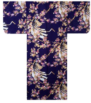 Photo1: Ladies' Japanese Yukata -himezakura- Navy, Cotton, Small / Cherry princess