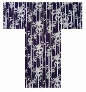 Photo1: Men's Japanese Yukata -takeryu- Navy, Cotton, 2Xlarge / Bamboo & dragon