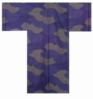 Photo1: Small / Men's Japanese Yukata -kumotori- Navy, Cotton - SPECIAL DISCOUNT