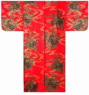 Photo2: Ladies' Japanese Yukata -hana ryusui- Red, Cotton, Small / Flowers on the flowing water
