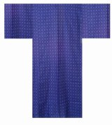 Men's Japanese Yukata -waritsuke komon- Navy, Cotton, Large / Argyle pattern