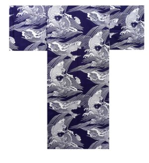 Photo1: Men's Japanese Yukata -koi- Navy, Cotton, 2Xlarge / Carp in wave