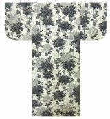 Medium / Ladies' Japanese Yukata -kiku- White, Cotton - SPECIAL DISCOUNT