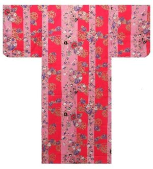 Photo2: Ladies' Japanese Yukata -shima tachisugata- Pink, Cotton, Large / -geisya- Beauty on stripe