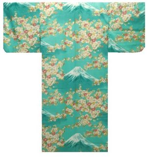 Photo1: Ladies' Japanese Yukata -sakura fuji- Green, Cotton, Medium / -sakura on Mt.fuji-