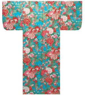 Photo1: Girls' 45inch / Japanese Yukata -botan temari- Tq blue, Cotton - SPECIAL DISCOUNT