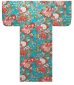 Photo1: Girl's Japanese Yukata -botan temari- Tq blue, Cotton, 45in / Ball with peony thread (1)