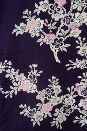 Photo3: Ladies' Japanese Yukata -sakura- Navy, Cotton, Small / Japanese cherry blossoms