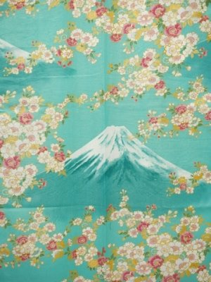 Photo2: Ladies' Japanese Yukata -sakura fuji- Green, Cotton, Medium / -sakura on Mt.fuji-
