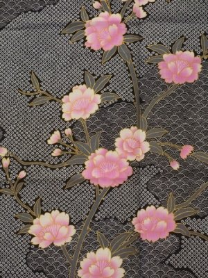Photo3: Ladies' Japanese Yukata -sakura komon- Black, Cotton, Medium / -sakura- on Cloud pattern