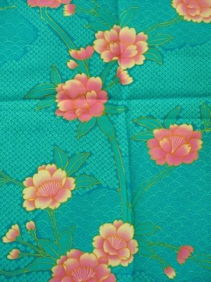 Photo2: Girls' 35inch / Japanese Yukata -botan temari- Tq blue, Cotton - SPECIAL DISCOUNT