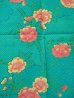 Photo2: Girls' 40inch / Japanese Yukata -botan temari- Tq blue, Cotton - SPECIAL DISCOUNT (2)