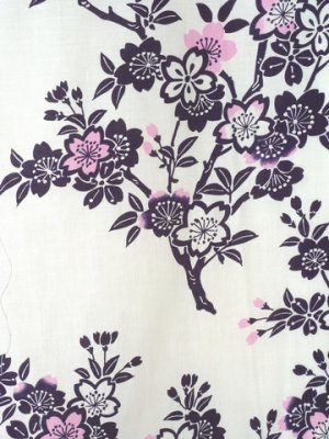 Photo2: Ladies' Japanese Yukata -sakura- White, Cotton, Small / Japanese cherry blossoms