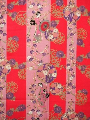 Photo3: Ladies' Japanese Yukata -shima tachisugata- Pink, Cotton, Large / -geisya- Beauty on stripe