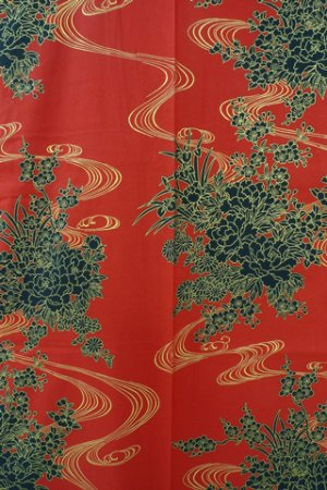Photo3: Ladies' Japanese Yukata -hana ryusui- Red, Cotton, Small / Flowers on the flowing water
