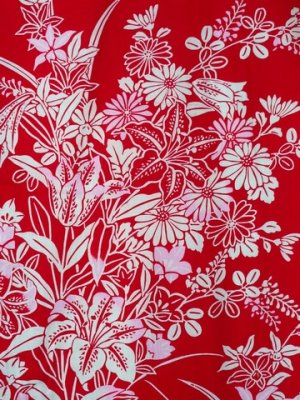 Photo3: Ladies' Japanese Yukata -yuri- Red, Cotton, Small / Lilies