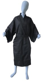 One size fits all / Men's Japanese Robe -kuromuji- Black, Cotton, 45in - SPECIAL DISCOUNT