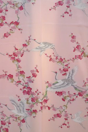 Photo2: Girl's Japanese Kimono -umetsuru- Pink, Polyester, 50in / Japanese plum & crane
