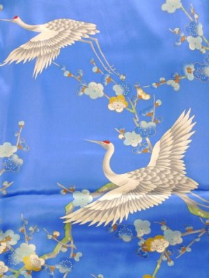 Photo4: Silk Stole -umetsuru- / Plum & crane