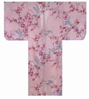 Photo1: Girl's Japanese Kimono -umetsuru- Pink, Polyester, 35in / Japanese plum & crane