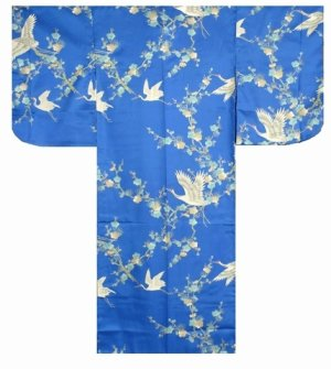 Photo1: Girls' 25inch / Japanese Kimono Robe -umetsuru- blue, Polyester - SPECIAL DISCOUNT