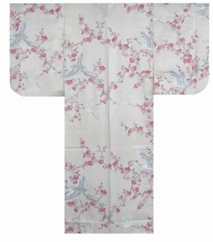 Photo1: Girl's Japanese Kimono -umetsuru- White, Polyester, 50in / Japanese plum & crane